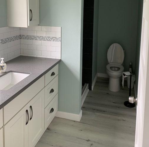 Bathroom after  water damage